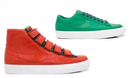 Nike Blazer High Red Velcro + Low Lucky Green