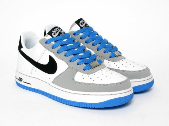 Nike Air Force 1 GS - White/Black/Italy Blue/Wolf Grey