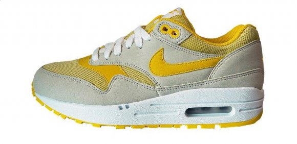 Nike Air Max 1 White / Blue / Black & Light Bone / Speed Yellow
