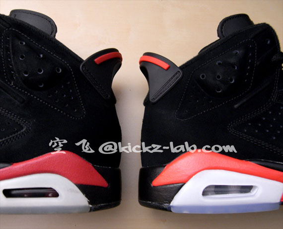 Air Jordan VI Retro Black/Varsity Red vs. Black/Infrared - Porownanie
