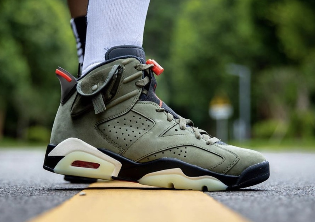 On Feet: Travis Scott x Air Jordan 6 'Medium Olive'